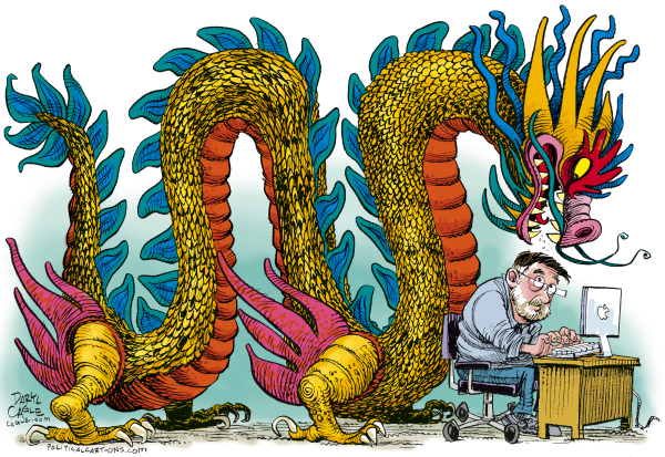 dragon,china,hackers,denial of service,attacks,cagle.com,Daryl Cagle,computer,apple,macintosh,dragon,chinese hackers