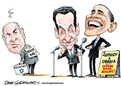 Sarkozy and Obama open mic by Dave Granlund