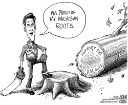 Mitts Michigan Roots by Adam Zyglis