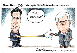 Newt Gingrich backs Mitt Romney by Dave Granlund