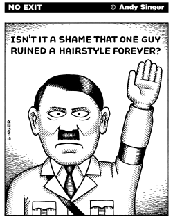 One Guy Ruined a Hairstyle by Andy Singer