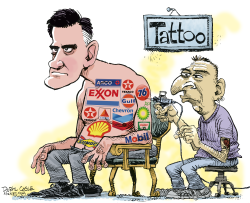 Romney Tattoo  by Daryl Cagle