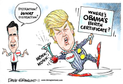 Romney and birther Trump by Dave Granlund