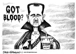 Assad and Syrian blood by Dave Granlund