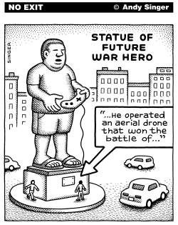 Statue of Future War Hero by Andy Singer