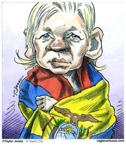 Julian Assange at the embassy -  by Taylor Jones