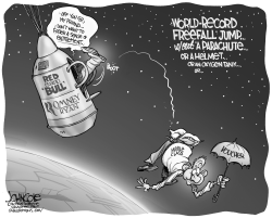 Romney space jump BW by John Cole