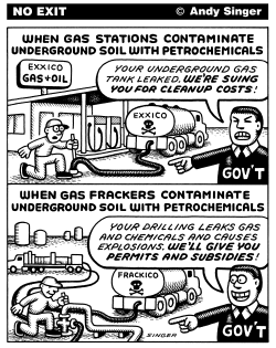 Gas Station Brownfields vs Fracking by Andy Singer