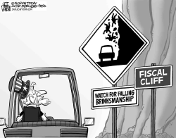 Fiscal Cliff Falling Rocks by Jeff Parker