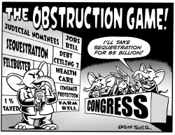 Playing the Obstruction Game  BW  by Keith Tucker