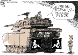 Military Harassment Flap color by Pat Bagley