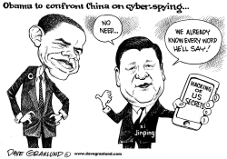 Obama and China cyber hacking by Dave Granlund