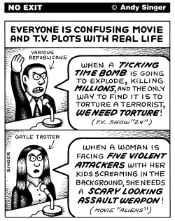 Confusing Movies and Real Life by Andy Singer