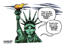Statue of Liberty opens despite shutdown color by Jimmy Margulies