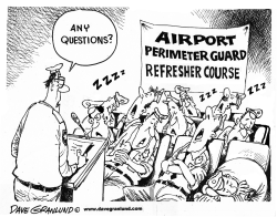 Airport perimeter guards by Dave Granlund