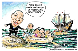 Border kids to Massachusetts by Dave Granlund