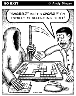 Playing Scrabble With Death by Andy Singer