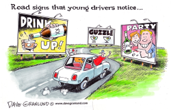 Young drivers and road signs by Dave Granlund