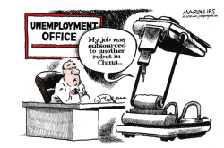Robots in the workforce color by Jimmy Margulies
