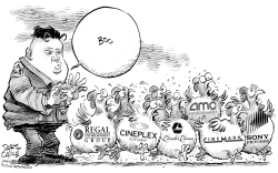 Kim Jong Un and Sony Pictures Chickens by Daryl Cagle