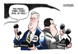 Jeb Bush and Christie vie for Romney donors color by Jimmy Margulies
