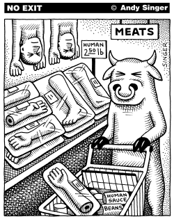 Cow Buys Human Meat by Andy Singer