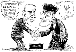 Iran Deal BW by Daryl Cagle