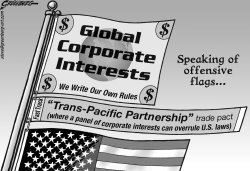 Offensive corporate flags bw by Steve Greenberg