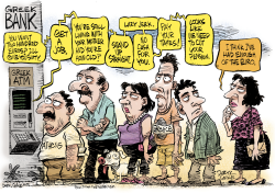 Greek Bank ATM Line  by Daryl Cagle