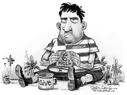 Grexit Beggar by Daryl Cagle