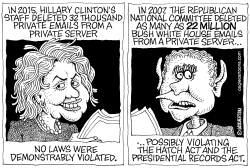 Clinton vs Bush Email Scandals by Wolverton