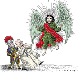 Pope Francis and Che  by Osmani Simanca