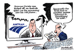 Christie kicked off Amtrak quiet car color by Jimmy Margulies