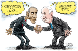 Obama and Netanyahu Shake Hands  by Daryl Cagle