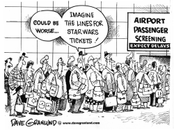 Airport screening lines by Dave Granlund