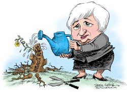 Janet Yellen Raises Interest Rates  by Daryl Cagle