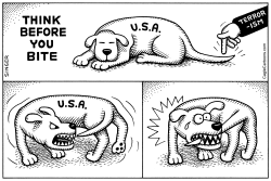Think Before You Bite horizontal by Andy Singer
