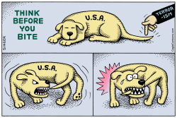 Think Before You Bite horizontal color by Andy Singer
