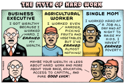 Myth of Hard Work horizontal color by Andy Singer