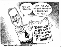 Jeb and donor T-shirts by Dave Granlund