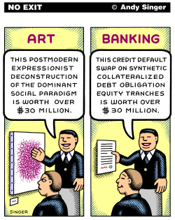 Art Versus Banking color version by Andy Singer