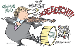 One Man Band Trump  by Mike Keefe