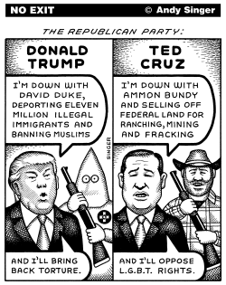 Donald Trump Versus Ted Cruz by Andy Singer