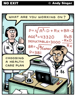 Choosing a Healthcare Plan color version by Andy Singer
