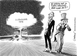 Hiroshima Obama confronts past	  by Patrick Chappatte
