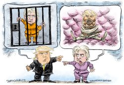 Clinton and Trump Insults  by Daryl Cagle