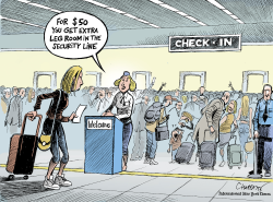 Long lines in airport by Patrick Chappatte