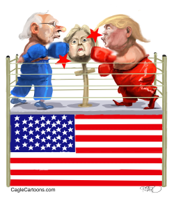 Sanders, Hillary and Trump in boxing ring by Riber Hansson