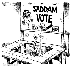 Saddam Voting Machine by Mike Lane
