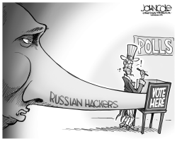 Russia hacks US election BW by John Cole